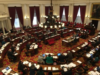 Budget deliberations in the House Chamber on St. Patrick's Day 2016.