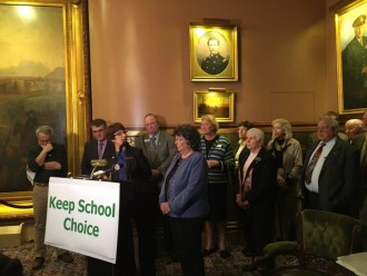 Republican legislators join the School Choice Caucus  at a press conference on Thursday  April 7, 2016.